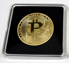 24 Gold Plated BTC (Mining) Crypto Bit Coin With Acrylic Square Case