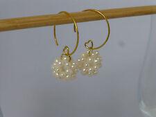 Ohrringe Ohrhänger Creolen gold  Süsswasser-Perlen Kugeln 11mm *PO160602
