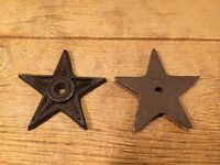 "Lot of 2 Cast Iron Star with Center Hole 4"" Wide DIY Decor 0170-02107"