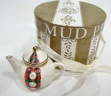 Mud Pie Porcelain Hinged Box -Buttons N Bow Christmas Teapot Trinket Box