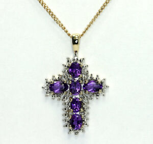 """Two Tone 10k Gold Diamond Oval Amethyst Cross Pendant Curb Chain Necklace 17"""""""