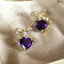 14K Yellow Gold Finish Heart Amethyst & 0.30 Ct Diamond Bow Dangle Stud Earrings