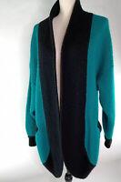 Marisa Christina Women's Wool Mix Small Vintage Knit Green Long Cardigan 2333