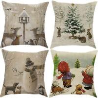 "18""Merry Christmas Snowman Cotton Linen Cushion Cover Pillow Case Home Decor b15"