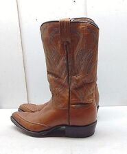 Dan Post Spain Brown Leather Cowboy Western Boots Mid Calf Kids Youth Shoes 5.5N