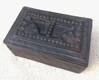 Vintage African Tuareg Handmade Tooled Leather Small Keepsake Box Black Dark Red
