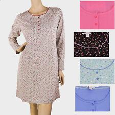 New CHARTER CLUB Roses Knit Cotton Long Sleeve Henley SleepShirt Chemise Small