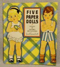 1937 Five Paper Dolls - Artist Janet Laura Scott - Saalfield - Mint Original