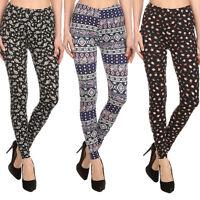 Womens Print Leggings Fashion Pattern Stretch Pant Skinny Soft Sexy New S M L XL