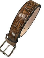 Deer Design Leather Belt Mens Casual Work Western Brown USA Made Handmade