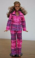 Clothes for Curvy Barbie Doll. Purple flannel pajamas for Dolls.