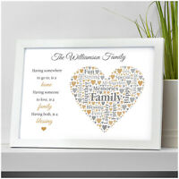 Personalised Family Poem Verse Gifts Christmas Birthday New Home Family Presents