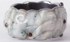 New listing Chinese Sterling Silver 925 and Jade Bangle Bracelet