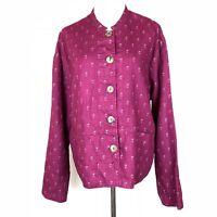 FLAX Lagenlook Burgundy Purple Printed 100% Linen Button-Front Jacket Size M