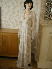 12 TALL NEEDLE & THREAD DRESS CREAM SILVER BEADED V-NECK LONG SLEEVES VINTAGE