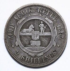 1894, South Africa, 2 Shillings, Zuid Afrikaansche Republiek, Silver, Lot [1348]