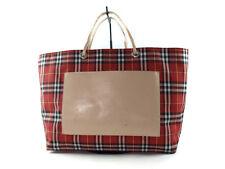 BURBERRY LONDON Nova Check PVC Canvas, Leather Reds Tote Bag BT8375L