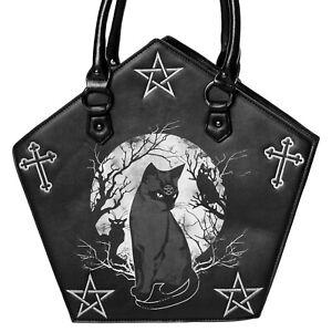 Banned Hecate Moon Pentagram Gothic Rockabilly Punk Rock Womens Shoulder Bag