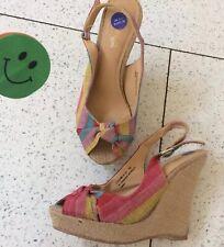 🌸 Bamboo Uk3.5 Wedges Sandals Platform Court Peep Toe Canvas