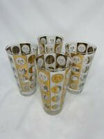 4 Vintage MCM Gold/White Lunar Cycles Moon Phases 10oz Glasses Tumblers