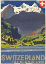 Vintage Ski Posters THE BRUNIG LINE, Swiss, 1930's, Art Deco A3 Travel Print