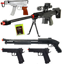 NEW Lot of 5 Airsoft Guns Sniper Rifle Shotgun Machine Pistols & 1000 6mm BB