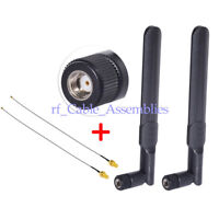 2-Pack 8dBi 2.4GHz 5GHz Dual WiFi RP-SMA Antenna with IPX/U.fl to SMA Cable 15cm