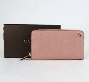 Gucci Soft Pink Leather Gold Interlocking G Zip Around Wallet 449347 5806