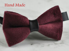 Men Unisex EGG PLANT PURPLE RED Velvet Bow Tie Bowtie Craft Wedding Party