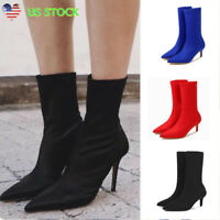 Women Med Kitten Heel Pointed Toe Boots Ladies Solid Mid Calf Socks Bootie Shoes