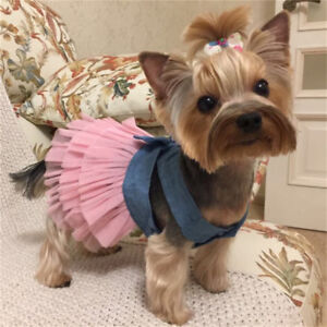 Yorkshire Terrier Dog Skirt Cat Puppy Clothes Tutu Dress Bow Shirt Wedding Party