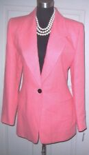 Ellen Tracy Jacket Sz 4 Dress Suit Silk Linen Coral Button Front S NEW $355