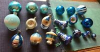 Vintage Mercury Blue Christmas Tree Ornament Lot of 20 Glass, Indent Shiny Brite