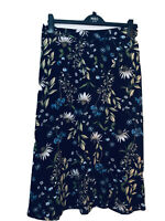 """marks and spencer Skirt Floral Flared Uk 24 Reg 32"""" L RRP £35.00  Daisy Navy"""