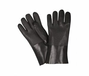 """MCR Safety 12"""" PVC Glove Black Double Dipped Jersey Lining Gloves 6512SJ"""