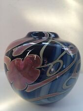 J.BYRON Art Glass Cobalt Blue Vase Signed & Dated Vintage See Pics Nice