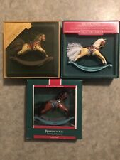 Lot Of 3 Hallmark Keepsake Ornament Rocking Horse 1984, 1986, 1989 With Box