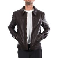 6dd529f7 Italian handmade men genuine leather casual fit jacket chocolate brown S To  3XL
