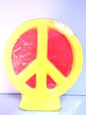 Vintage 1970s Peace Sign Candle Mid Century Retro Tranquility Hippy Bohemian Mod