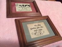 "Wall Framed  Decorations - CATS - Set of 2 - size 9"" x 7"""