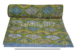 Indian Embroidery Kantha Quilt Bedspread Rainbow Throw Cotton Green