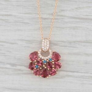 "Roberto Coin Fantasia Pendant Necklace Pink Tourmaline Topaz 18k Rose Gold 16"""