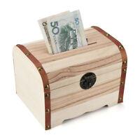 Kids Wooden Wood Piggy Bank Safe Money Box Savings With Lock Carving Handmade