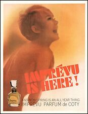 1965 semi-nude blond woman Coty Imprevu perfume vintage photo print ad adl83