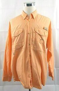 Columbia PFG Men's 2XL XXL Peach Vented Convertible Long Sleeve Fishing Shirt