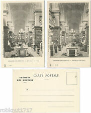 LOT 2 CPA postcard Bibliothèque côté Nord Sud CHAMBRE DES DEPUTES Paris [821 A]