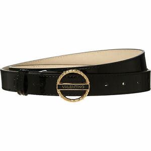 Women's Valentino by Mario Valentino Black & Gold Tone Logo Ring Glossy Belt  Sm