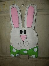 Burlap Spring Easter Bunny Rabbit Painted Door Decor Hanger