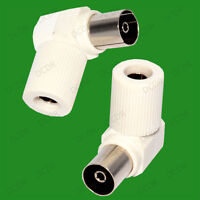 Right Angle RF Coaxial TV Aerial Female Connector Plug, 90 Degrees Freeview COAX