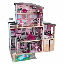 "Kidkraft Sparkle Mansion Dollhouse 30pcs Dolls up to 12"" Tall 65826 Barbie"
